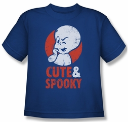 Casper The Friendly Ghost Shirt Kids Spooky Royal Blue Youth Tee T-Shirt