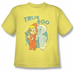 Casper The Friendly Ghost Shirt Kids True Boo Yellow Youth Tee T-Shirt