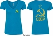 CCCP Hammer Sickle Soviet Union (Front & Back) Ladies V-neck