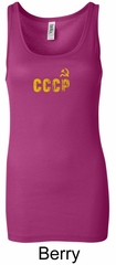 CCCP Ladies Tank Top Soviet Union USSR Insignia Longer Length Tanktop