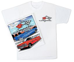 Chevy Impala T-Shirt - 58 to 59 Classic Car Adult White Tee