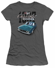 Chevy Juniors Shirt Blue Classic Camaro Charcoal T-Shirt