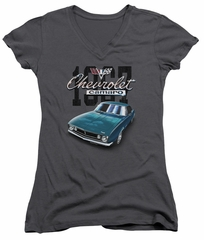 Chevy Juniors V Neck Shirt Blue Classic Camaro Charcoal T-Shirt