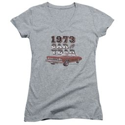 Chevy Juniors V Neck Shirt Car Of The Year Sports Grey T-Shirt