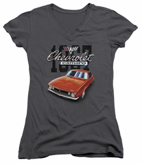 Chevy Juniors V Neck Shirt Chevrolet 1967 Red Classic Camaro Charcoal T-Shirt