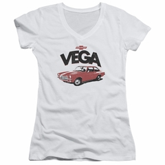 Chevy Juniors V Neck Shirt Vega White T-Shirt
