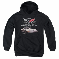 Chevy Kids Hoodie Corvette Checkered Past Black Youth Hoody