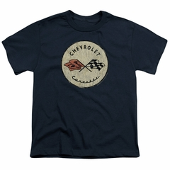 Chevy Kids Shirt Corvette Old Vette Logo Navy Blue T-Shirt