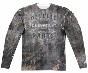 Chevy Long Sleeve Genuine Parts Metal Bowtie Sublimation Shirt Front/Back Print