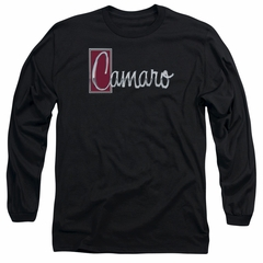 Chevy Long Sleeve Shirt Camaro Chrome Script Black Tee T-Shirt