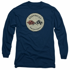 Chevy Long Sleeve Shirt Corvette Old Vette Logo Navy Blue Tee T-Shirt