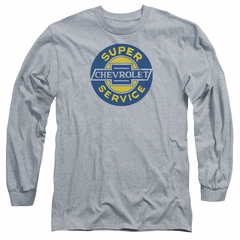 Chevy Long Sleeve Shirt Super Service Athletic Heather Tee T-Shirt