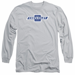 Chevy Long Sleeve Shirt Vintage White Border Bowtie Silver Tee T-Shirt
