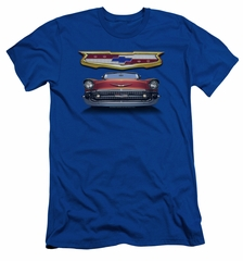 Chevy Slim Fit Shirt 1957 Bel Air Grille Royal Blue T-Shirt