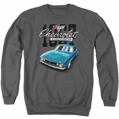 Chevy Sweatshirt Blue Classic Camaro Adult Charcoal Sweat Shirt