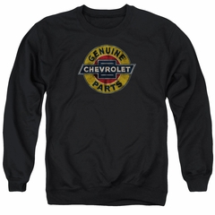 Chevy Sweatshirt Genuine Parts Distressed Sign Adult Black Sweat Shirt