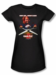 Child's Play 2 Juniors T-shirt Movie Chucky's Back Black Tee Shirt