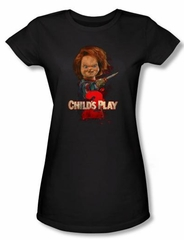 Child's Play 2 Juniors T-shirt Movie Here's Chucky Black Tee Shirt