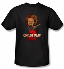 Child's Play 2 T-shirt Movie Here's Chucky Adult Black Tee Shirt