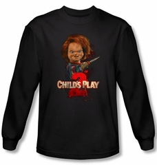 Child's Play 2 T-shirt Movie Here's Chucky Black Long Sleeve Tee Shirt
