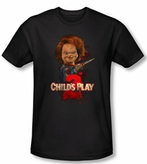 Child's Play 2 T-shirt Movie Here's Chucky Black Slim Fit Tee Shirt