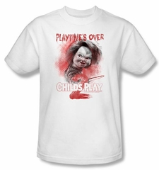 Child's Play 2 T-shirt Movie Playtime's Over Adult White Tee Shirt
