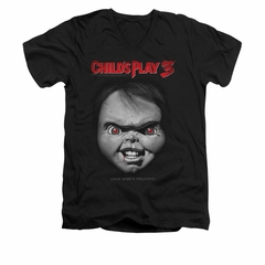 Child's Play 3 Shirt Slim Fit V Neck Face Poster Black Tee T-Shirt