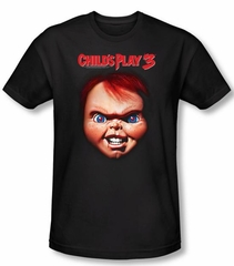 Child's Play 3 T-shirt Movie Chucky Black Slim Fit Tee Shirt