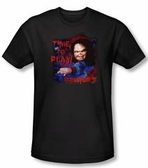 Child's Play 3 T-shirt Movie Time To Play Black Slim Fit Tee Shirt