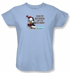 Chilly Willy Ladies T-shirt TV Show Hands Off Light Blue Tee Shirt