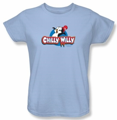 Chilly Willy Ladies T-shirt TV Show Willy Logo Light Blue Tee Shirt