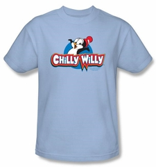 Chilly Willy T-shirt TV Show Willy Logo Adult Light Blue Tee Shirt