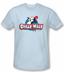 Chilly Willy T-shirt TV Show Willy Logo Light Blue Slim Fit Tee Shirt