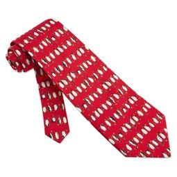 Christmas Penguins Red Silk Tie Necktie � Men�s Holiday Neck Tie