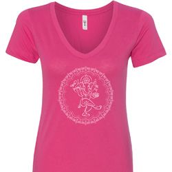 Circle Ganesha White Print Ladies Shirts