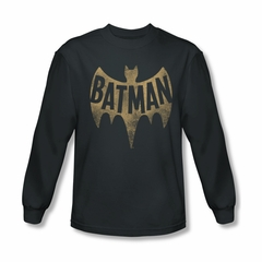 Classic Batman Shirt Distressed Logo Long Sleeve Charcoal Tee T-Shirt
