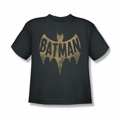 Classic Batman Shirt Kids Distressed Logo Charcoal T-Shirt