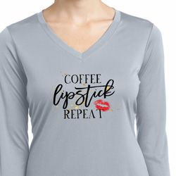 Coffee Lipstick Repeat Ladies Moisture Wicking Long Sleeve Shirt