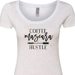 Coffee Mascara Hustle Ladies Heather White Scoop Neck Shirt
