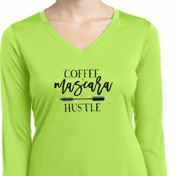 Coffee Mascara Hustle Ladies Moisture Wicking Long Sleeve Shirt