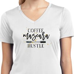 Coffee Mascara Hustle Ladies Moisture Wicking V-neck Shirt