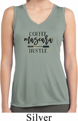 Coffee Mascara Hustle Ladies Sleeveless Moisture Wicking Shirt