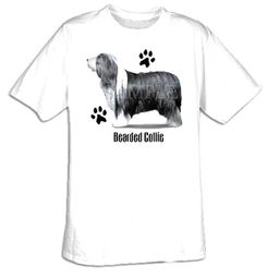 Collie T-shirt - Bearded Collie Profile Cute Dog Adult Tee