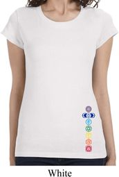 Colored Chakras Bottom Print Ladies Yoga Shirts