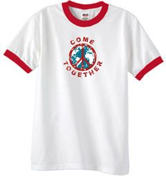 Come Together Peace Ringer T-shirts