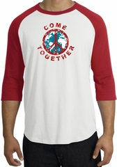 COME TOGETHER World Peace Sign Symbol Adult Raglan T-shirt - White/Red
