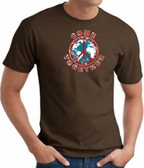 COME TOGETHER World Peace Sign Symbol Adult T-shirt - Brown