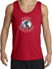 COME TOGETHER World Peace Sign Symbol Adult Tanktop - Red