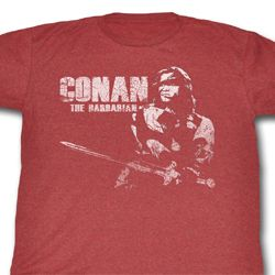 Conan Shirt The Barbarian Adult Heather Red Tee T-Shirt