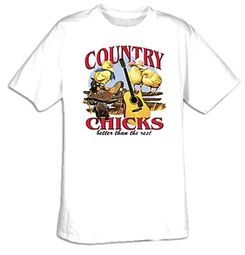 Country Chicks Music Cute Chickens Adult T-shirt Tee Shirt
